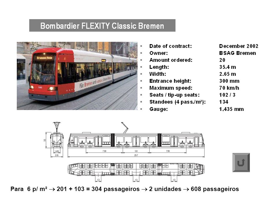 Para 6 p/ m²  201 + 103 = 304 passageiros  2 unidades  608 passageiros