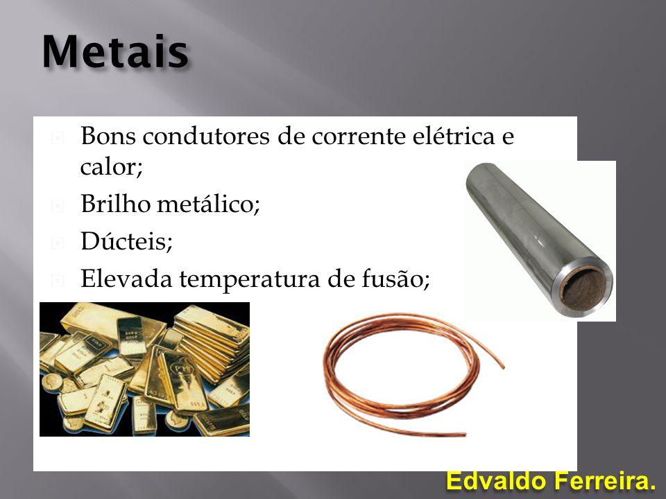 Metais Bons condutores de corrente elétrica e calor; Brilho metálico;