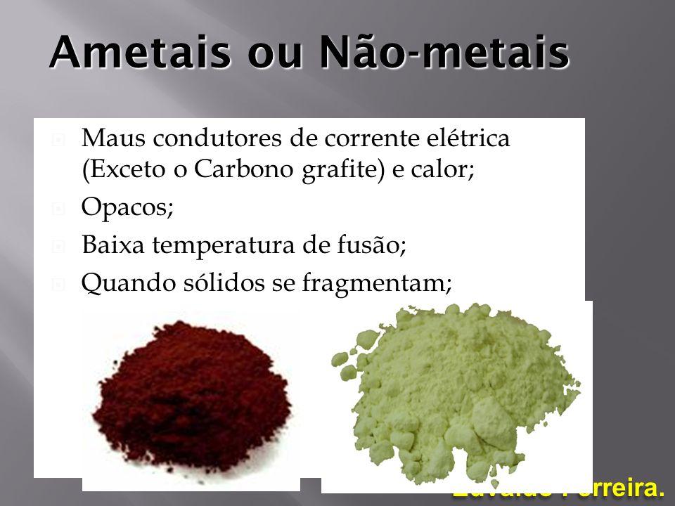 Ametais ou Não-metais Maus condutores de corrente elétrica (Exceto o Carbono grafite) e calor; Opacos;