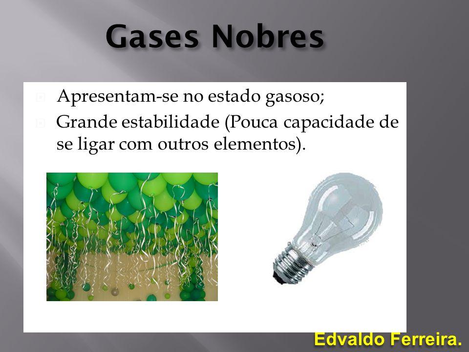 Gases Nobres Apresentam-se no estado gasoso;