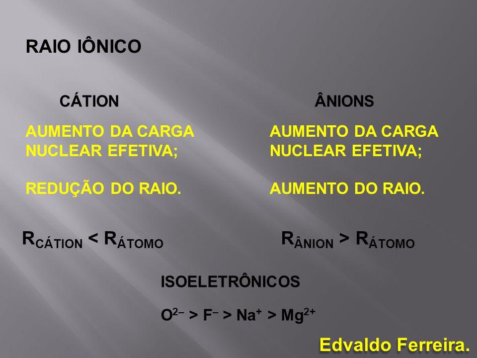 RAIO IÔNICO RCÁTION < RÁTOMO RÂNION > RÁTOMO