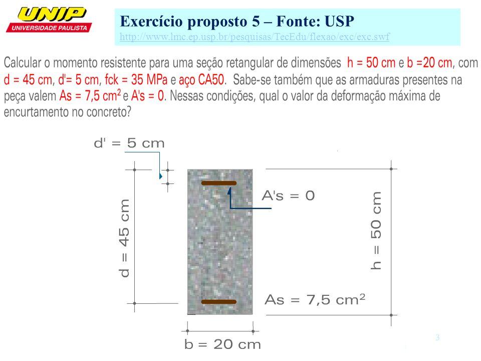 Exercício proposto 5 – Fonte: USP