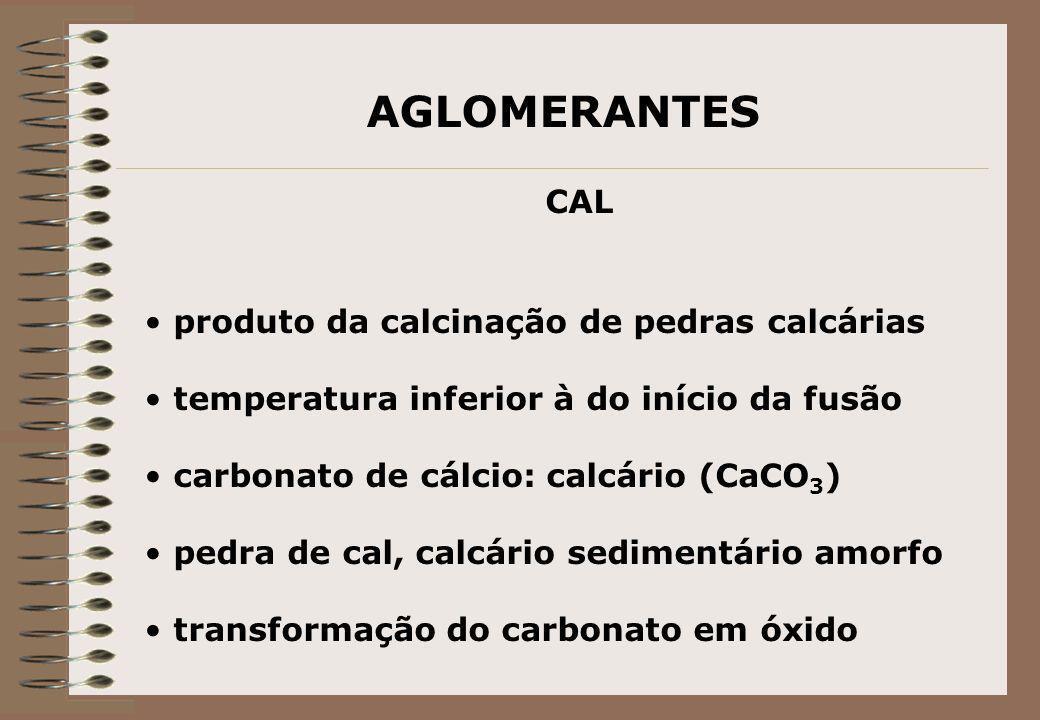 AGLOMERANTES CAL produto da calcinação de pedras calcárias