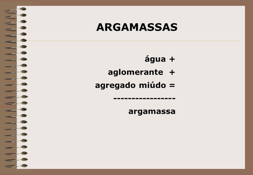 ARGAMASSAS água + aglomerante + agregado miúdo = -----------------