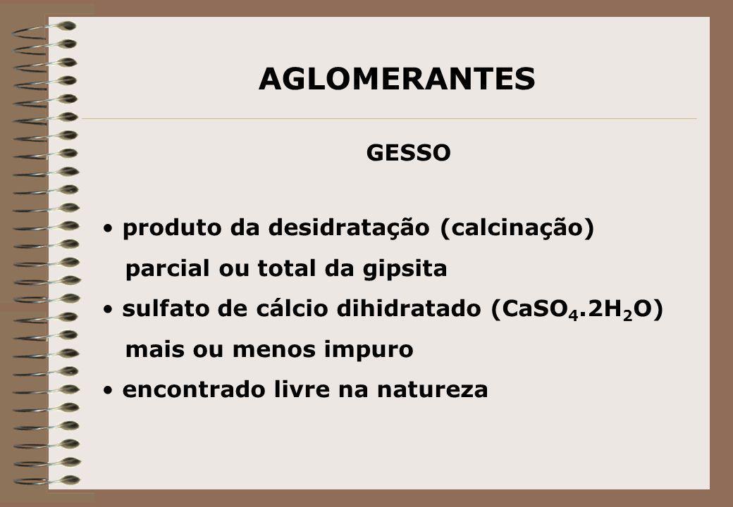 AGLOMERANTES GESSO produto da desidratação (calcinação)
