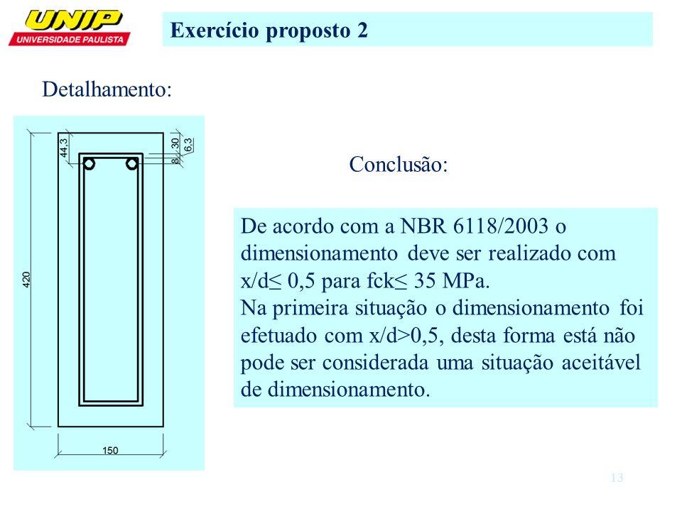 Exercício proposto 2 Detalhamento: Conclusão: De acordo com a NBR 6118/2003 o dimensionamento deve ser realizado com x/d≤ 0,5 para fck≤ 35 MPa.