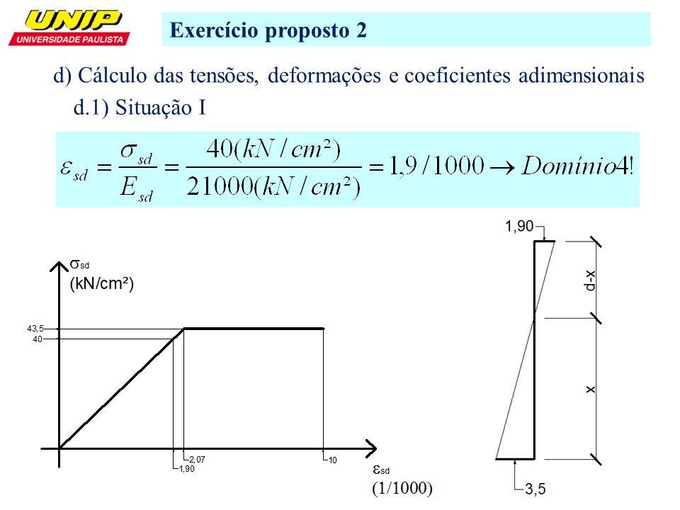 Exercício proposto 2 d) Cálculo das tensões, deformações e coeficientes adimensionais.