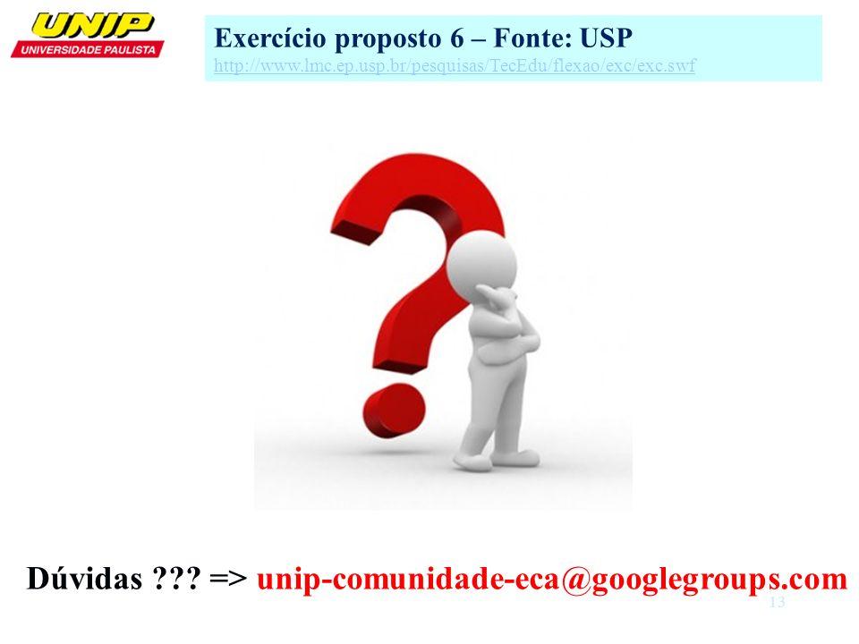 Dúvidas => unip-comunidade-eca@googlegroups.com