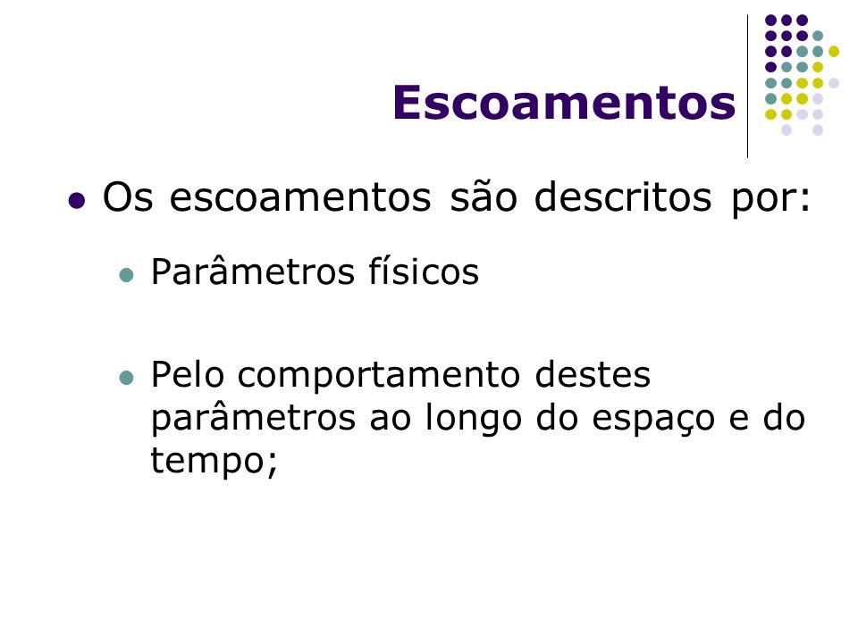 Escoamentos Os escoamentos são descritos por: Parâmetros físicos