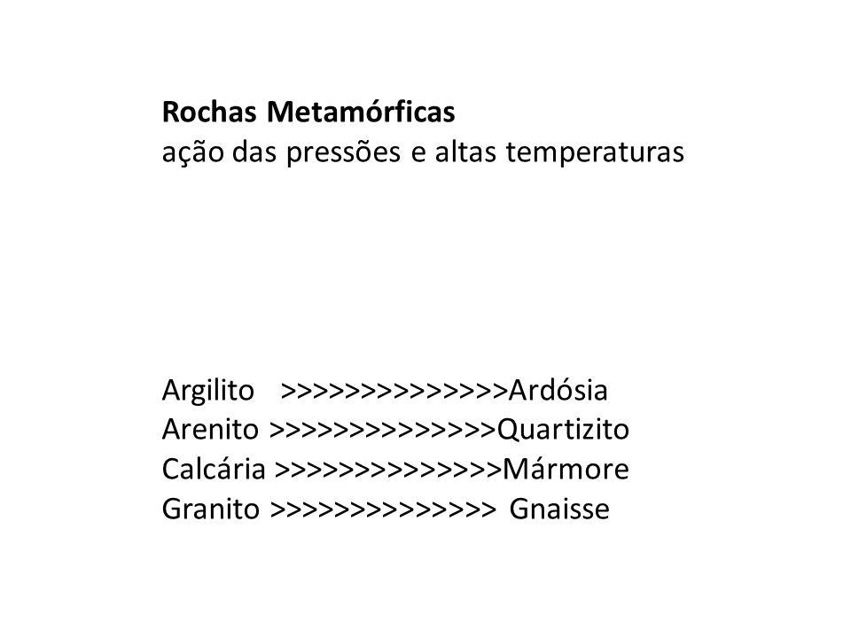 Rochas Metamórficas ação das pressões e altas temperaturas. Argilito >>>>>>>>>>>>>>Ardósia. Arenito >>>>>>>>>>>>>>Quartizito.