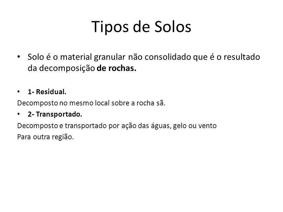 Tipos de Solos Solo é o material granular não consolidado que é o resultado da decomposição de rochas.