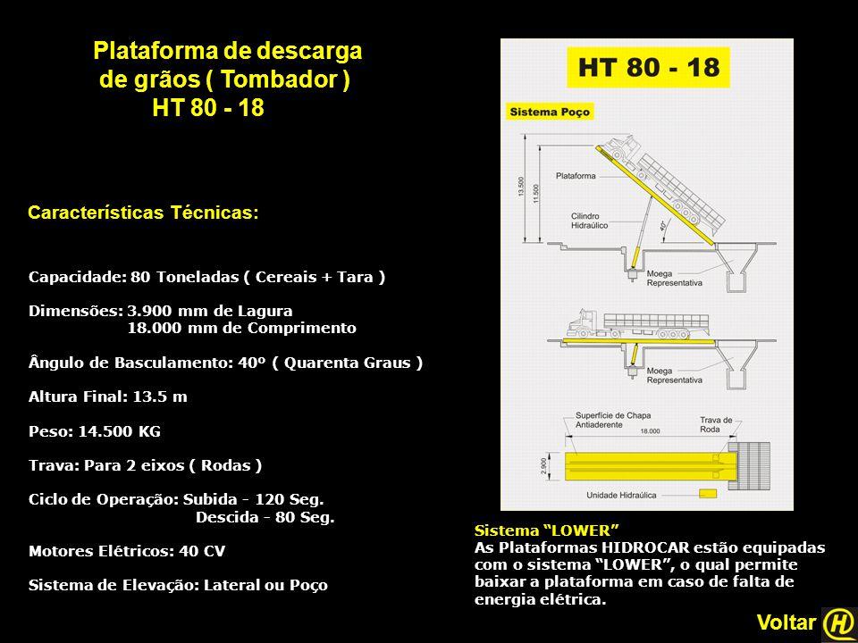 Plataforma de descarga de grãos ( Tombador ) HT 80 - 18