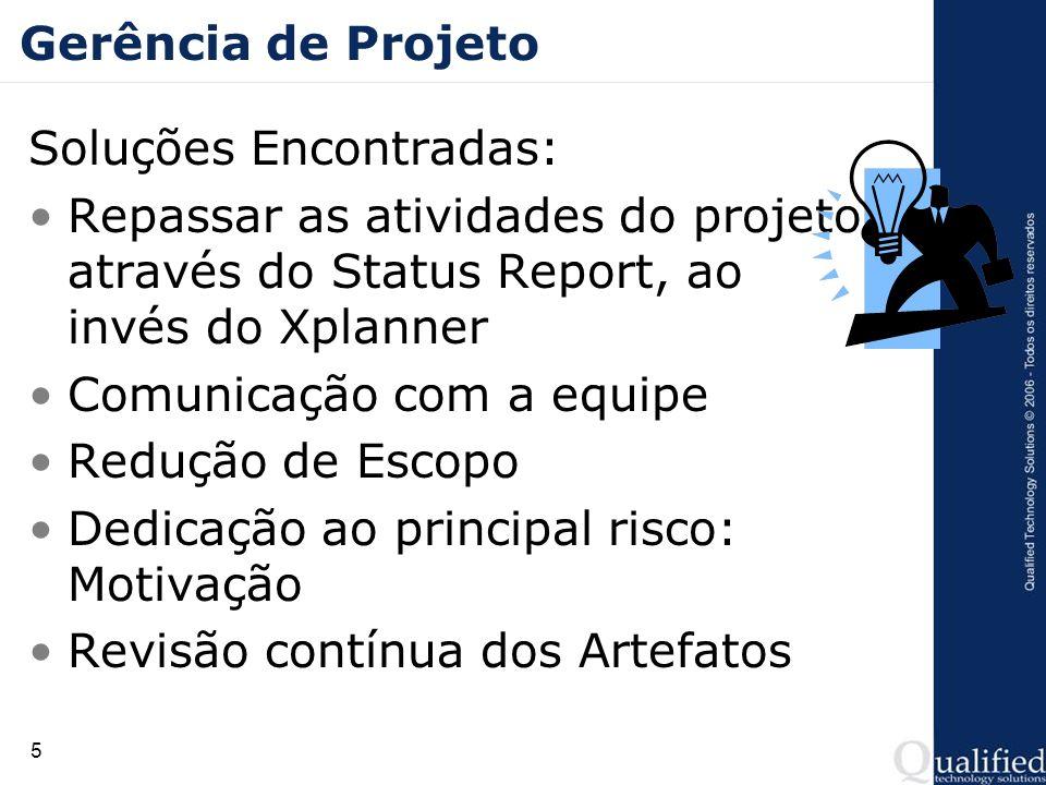 Gerência de ProjetoSoluções Encontradas: Repassar as atividades do projeto através do Status Report, ao invés do Xplanner.