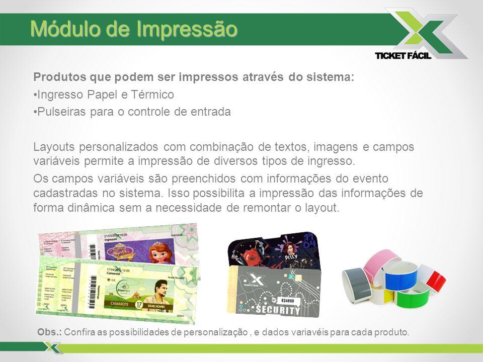 Módulo de Impressão Produtos que podem ser impressos através do sistema: Ingresso Papel e Térmico.