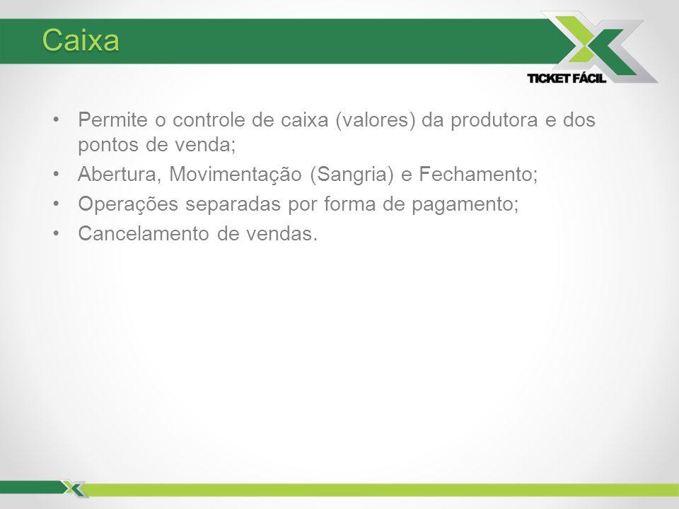 Caixa Permite o controle de caixa (valores) da produtora e dos pontos de venda; Abertura, Movimentação (Sangria) e Fechamento;