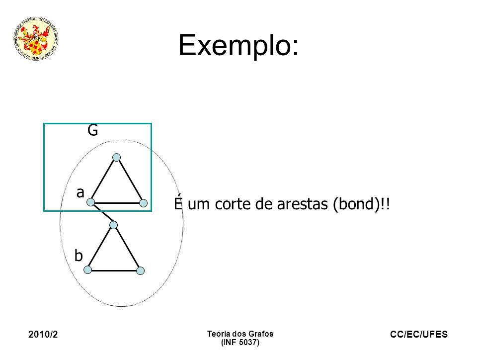 Exemplo: G a É um corte de arestas (bond)!! b 2010/2 Teoria dos Grafos