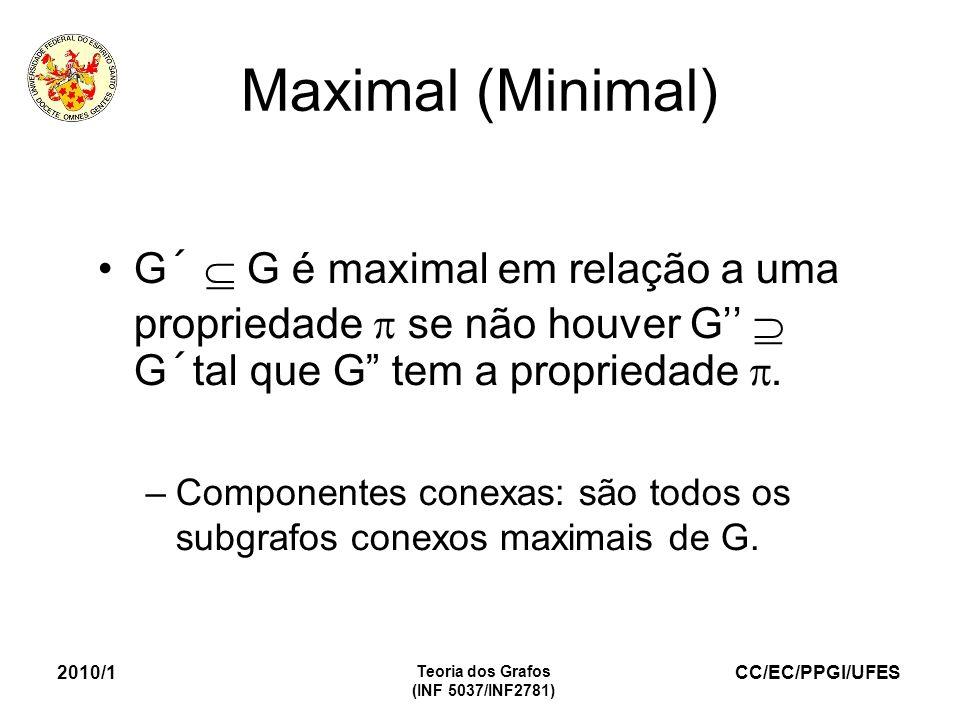 Maximal (Minimal) G´  G é maximal em relação a uma propriedade  se não houver G''  G´tal que G tem a propriedade .