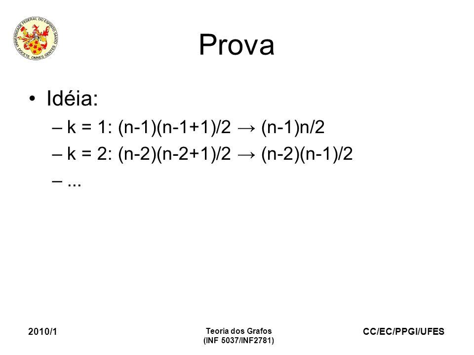 Prova Idéia: k = 1: (n-1)(n-1+1)/2 → (n-1)n/2
