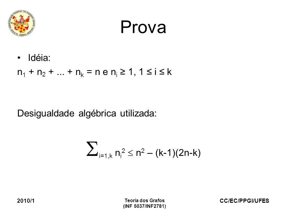 i=1,k ni2  n2 – (k-1)(2n-k) Prova Idéia: