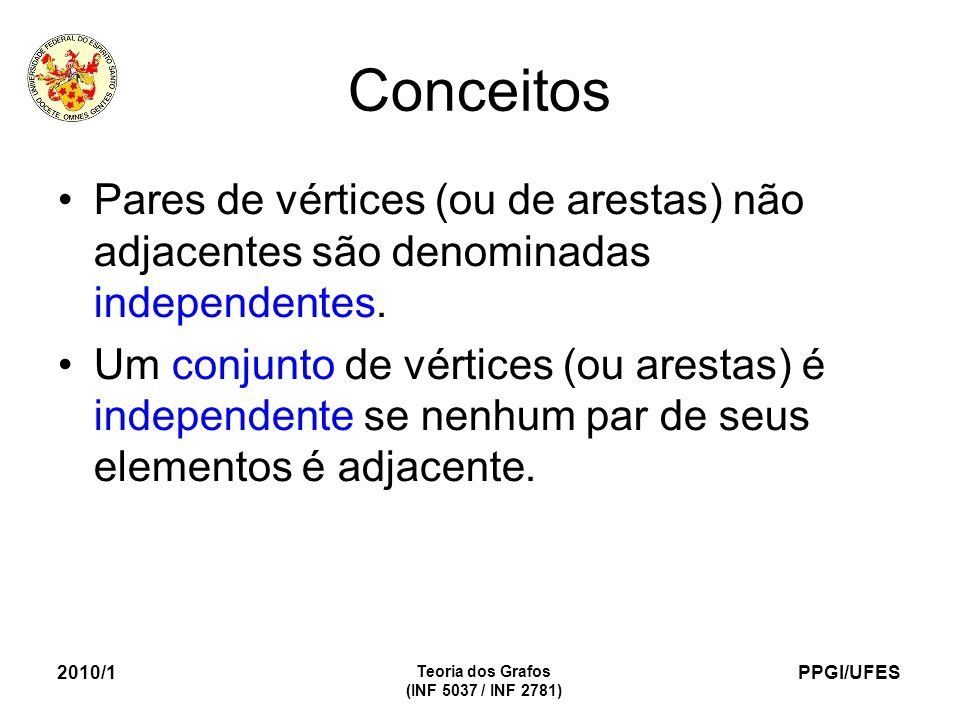 Conceitos Pares de vértices (ou de arestas) não adjacentes são denominadas independentes.