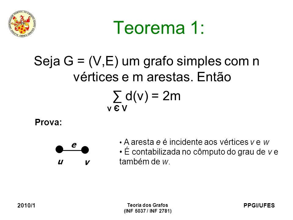 Seja G = (V,E) um grafo simples com n vértices e m arestas. Então