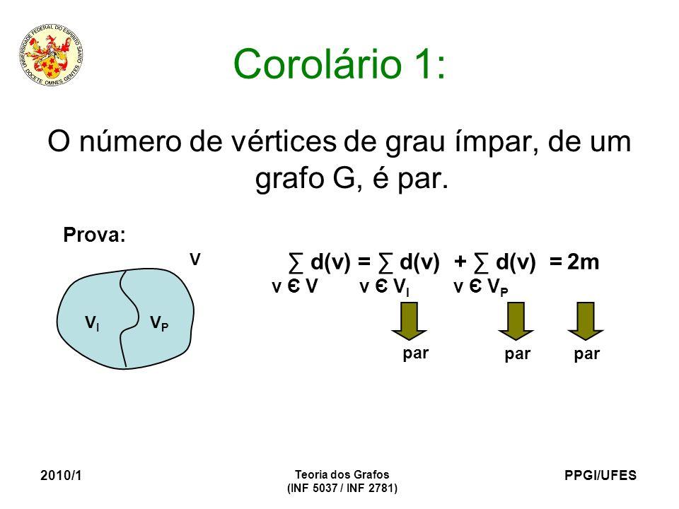 O número de vértices de grau ímpar, de um grafo G, é par.