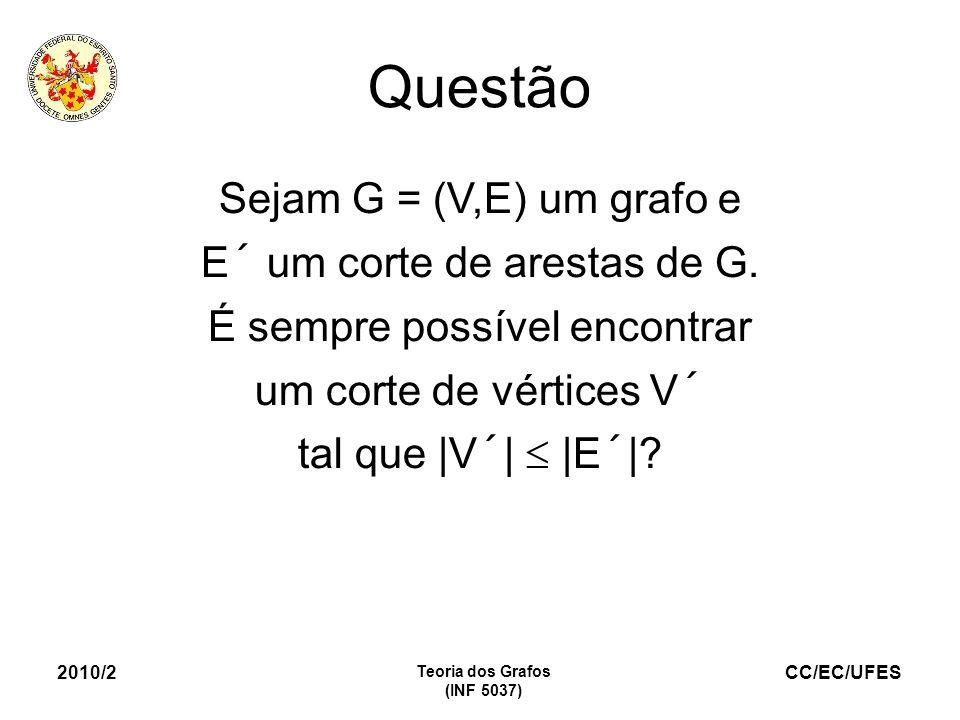 Questão Sejam G = (V,E) um grafo e E´ um corte de arestas de G.