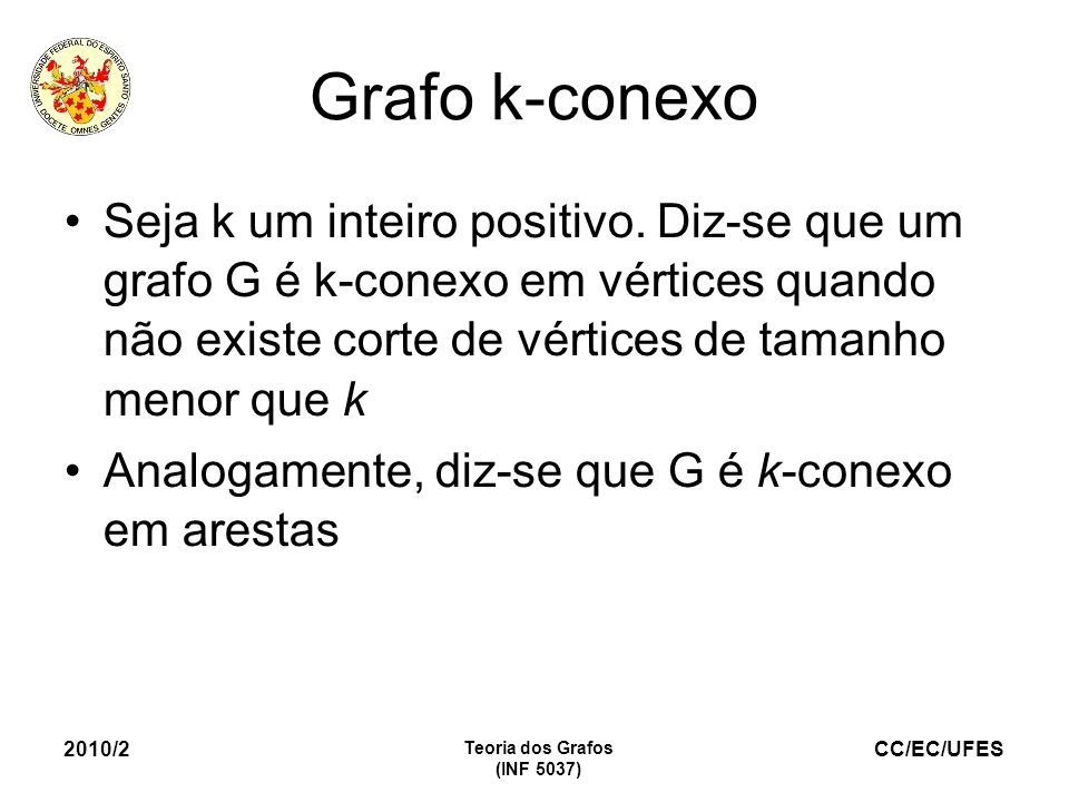 Grafo k-conexoSeja k um inteiro positivo. Diz-se que um grafo G é k-conexo em vértices quando não existe corte de vértices de tamanho menor que k.