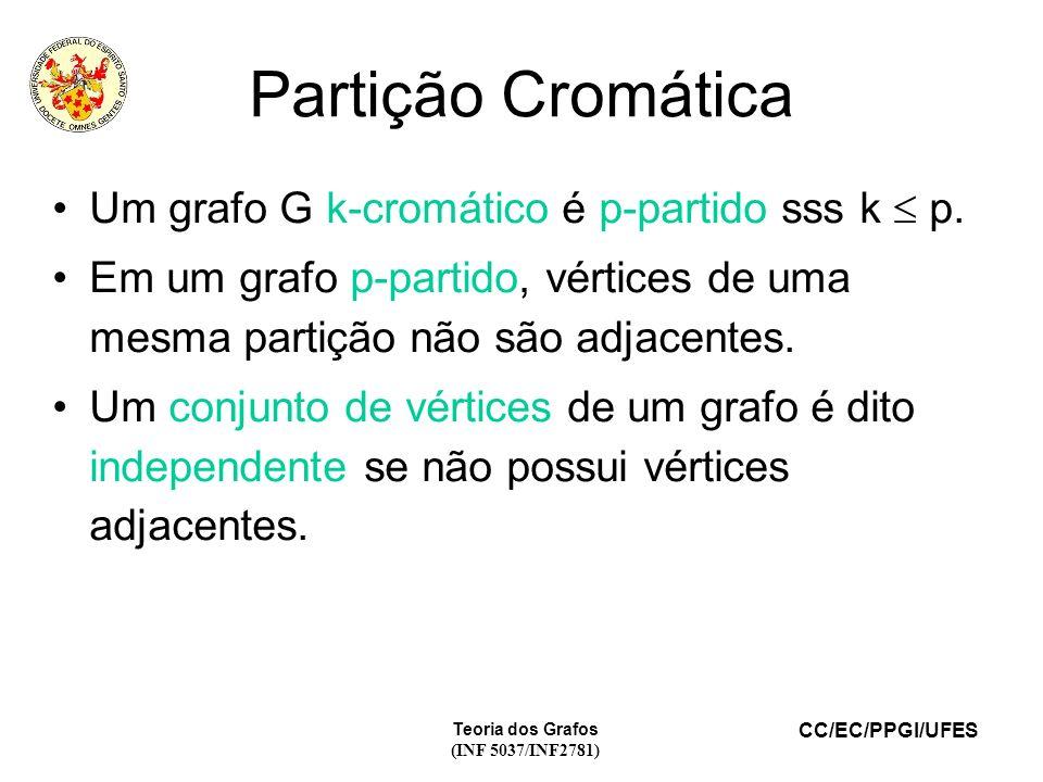 Partição Cromática Um grafo G k-cromático é p-partido sss k  p.
