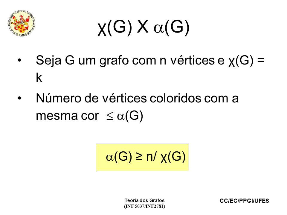 χ(G) X (G) Seja G um grafo com n vértices e χ(G) = k