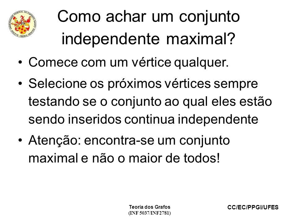 Como achar um conjunto independente maximal
