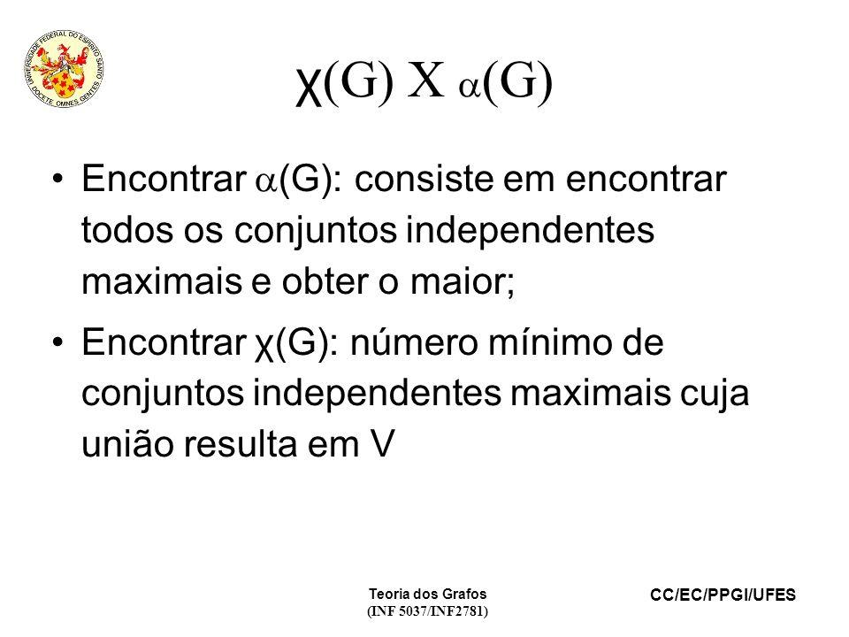 χ(G) X (G) Encontrar (G): consiste em encontrar todos os conjuntos independentes maximais e obter o maior;