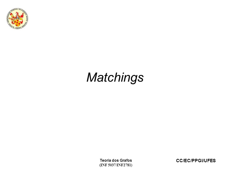 Matchings Teoria dos Grafos (INF 5037/INF2781) 21