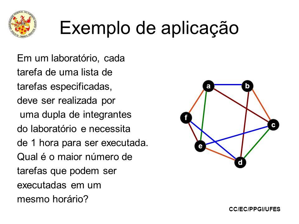 Exemplo de aplicação Em um laboratório, cada tarefa de uma lista de