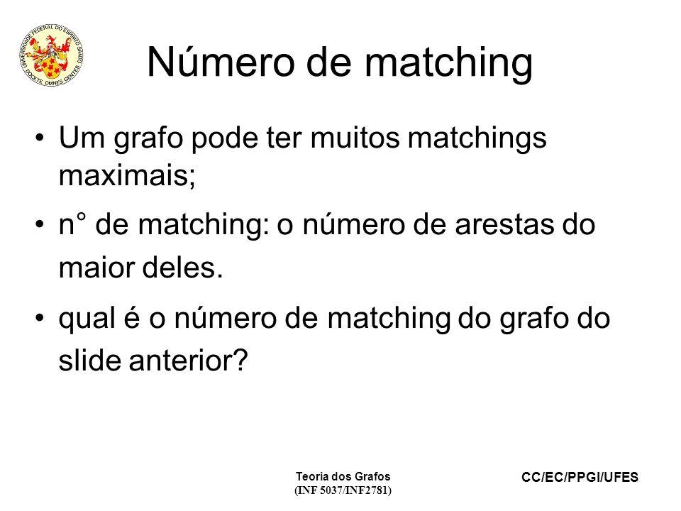 Número de matching Um grafo pode ter muitos matchings maximais;