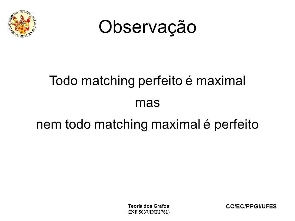 Observação Todo matching perfeito é maximal mas