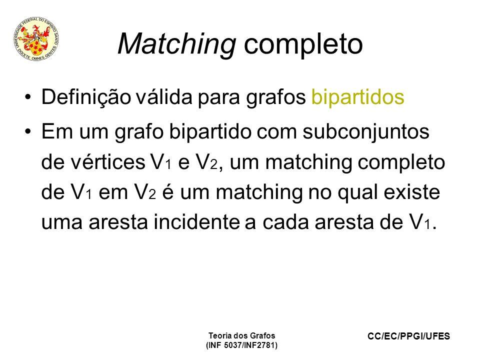 Matching completo Definição válida para grafos bipartidos