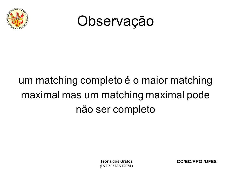 Observação um matching completo é o maior matching maximal mas um matching maximal pode não ser completo.