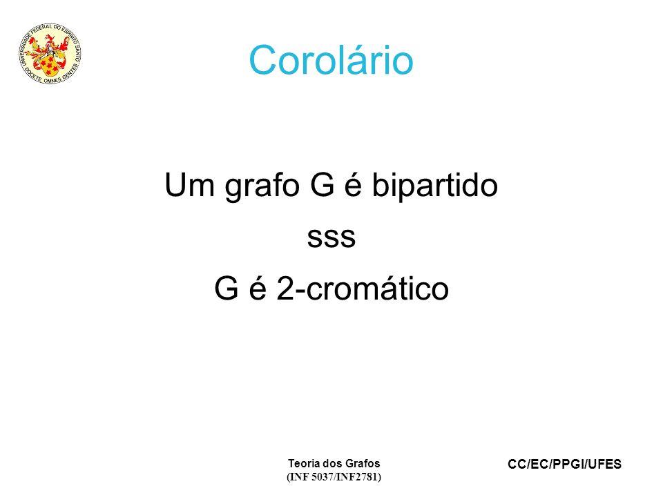 Corolário Um grafo G é bipartido sss G é 2-cromático Teoria dos Grafos