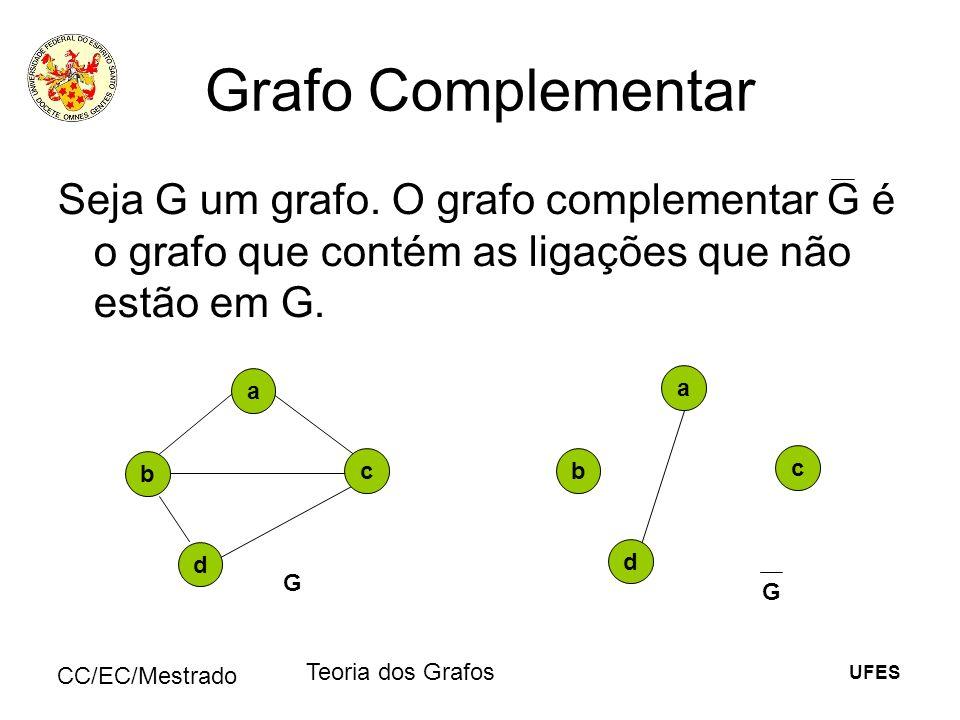 Grafo Complementar Seja G um grafo. O grafo complementar G é o grafo que contém as ligações que não estão em G.