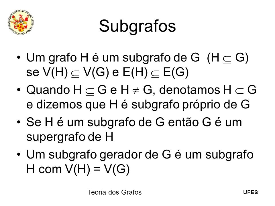 Subgrafos Um grafo H é um subgrafo de G (H  G) se V(H)  V(G) e E(H) E(G)