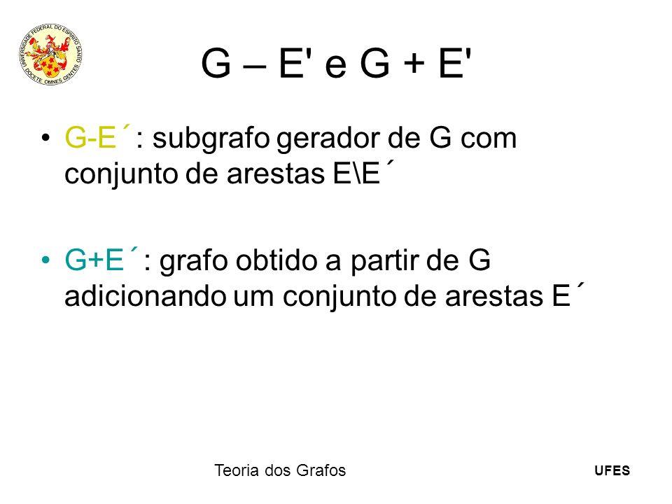G – E e G + E G-E´: subgrafo gerador de G com conjunto de arestas E\E´ G+E´: grafo obtido a partir de G adicionando um conjunto de arestas E´