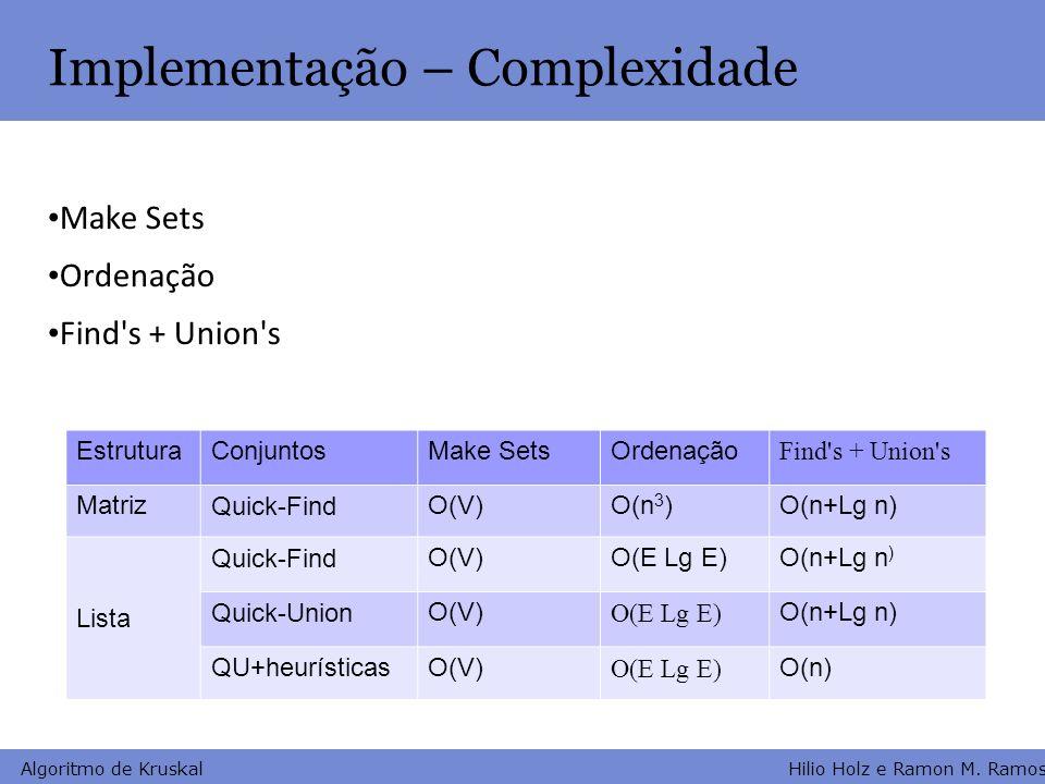 Implementação – Complexidade