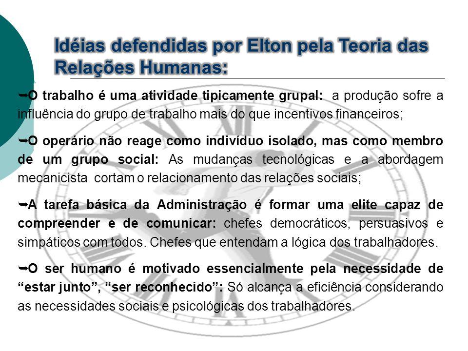 Idéias defendidas por Elton pela Teoria das Relações Humanas:
