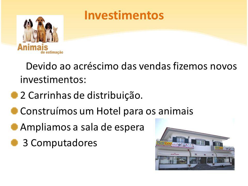 Investimentos Devido ao acréscimo das vendas fizemos novos investimentos: 2 Carrinhas de distribuição.