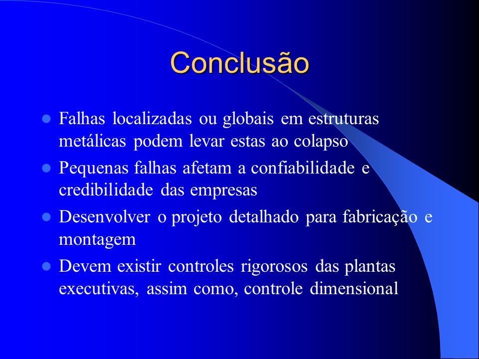 ConclusãoFalhas localizadas ou globais em estruturas metálicas podem levar estas ao colapso.