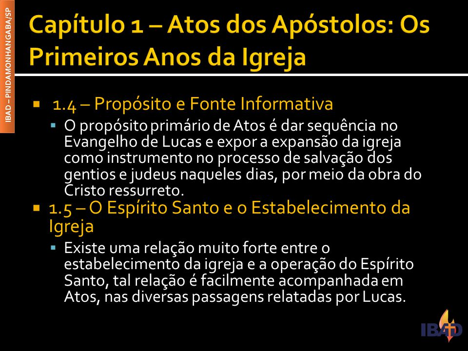 Capítulo 1 – Atos dos Apóstolos: Os Primeiros Anos da Igreja