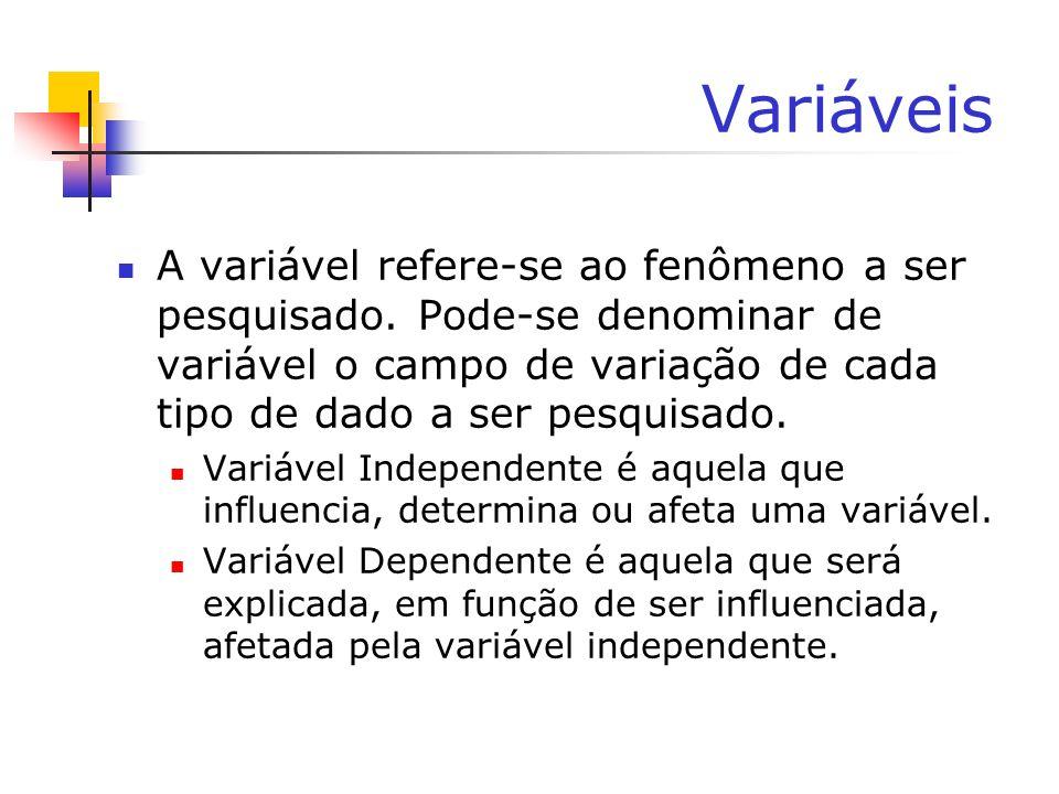 VariáveisA variável refere-se ao fenômeno a ser pesquisado. Pode-se denominar de variável o campo de variação de cada tipo de dado a ser pesquisado.