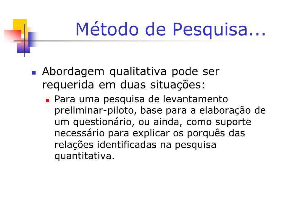 Método de Pesquisa...Abordagem qualitativa pode ser requerida em duas situações: