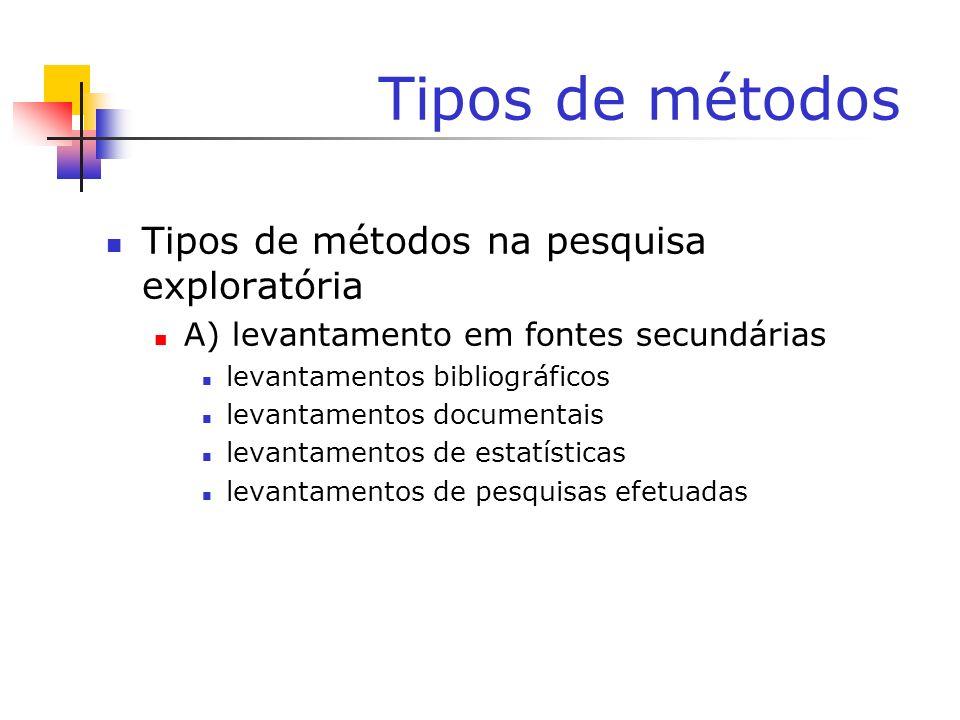Tipos de métodos Tipos de métodos na pesquisa exploratória